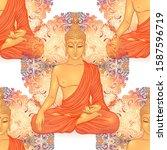 buddha head seamless pattern....   Shutterstock .eps vector #1587596719
