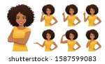 smiling beatiful woman with... | Shutterstock .eps vector #1587599083