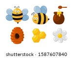 bee and honey cartoon icon set... | Shutterstock .eps vector #1587607840