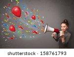 young girl having fun  shouting ... | Shutterstock . vector #158761793