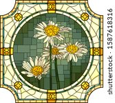 vector mosaic with of blooming...   Shutterstock .eps vector #1587618316