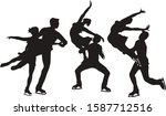 set of silhouettes pair figure...   Shutterstock .eps vector #1587712516