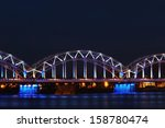 railroad bridge in riga by night | Shutterstock . vector #158780474