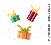 falling gifts with bows and... | Shutterstock .eps vector #1587830116