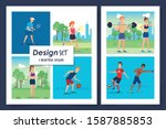 six designs of people... | Shutterstock .eps vector #1587885853