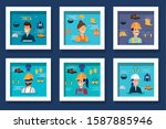 bundle of workers with uniforms ... | Shutterstock .eps vector #1587885946
