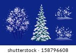 Vector set of snow covered winter trees, isolated on a dark blue background