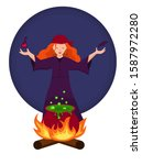 red haired witch brews a green... | Shutterstock .eps vector #1587972280