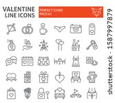 valentine s day line icon set ... | Shutterstock .eps vector #1587997879