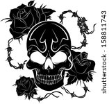 Pirate Skull And  Roses