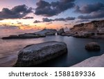 Rocky Seashore Seascape With...