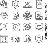 Biometric Icons Set Vector...