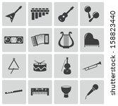vector black music instruments...   Shutterstock .eps vector #158823440
