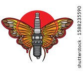 spark plug traditional tattoo ... | Shutterstock .eps vector #1588235590