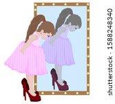 little girl put on her mother s ... | Shutterstock .eps vector #1588248340