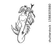 Vector Mermaid Tribal Warrior...