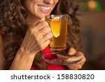 closeup on happy young woman... | Shutterstock . vector #158830820