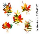watercolor autumn leaves...   Shutterstock . vector #158841569