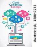 cloud computing concept | Shutterstock .eps vector #158843168