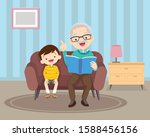 grandfather sitting with... | Shutterstock .eps vector #1588456156
