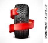 black rubber tire   ribbon on... | Shutterstock .eps vector #158846219