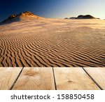 sunset and empty wooden desk... | Shutterstock . vector #158850458