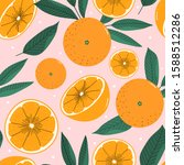 oranges hand drawn seamless... | Shutterstock .eps vector #1588512286