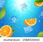 fresh oranges fruits in water... | Shutterstock .eps vector #1588520443