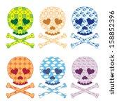 skull patterns set vector | Shutterstock .eps vector #158852396