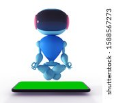robot doing yoga over a...