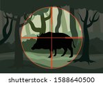 Animal hunting, depicts hunting wild boar, forest clearing on which stands the boar in which the hunter is aiming, vector flat illustration - stock vector