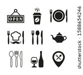 restaurant and cafe icons set...   Shutterstock .eps vector #1588654246