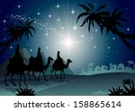 three wise men with camel in... | Shutterstock .eps vector #158865614