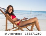 smiling woman on the beach... | Shutterstock . vector #158871260