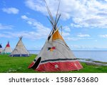Aboriginal teepees of North American indigenous people in Gesgapegiag city, Quebec, Canada.