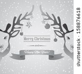christmas card with deer on... | Shutterstock .eps vector #158876618