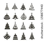 christmas tree icons | Shutterstock .eps vector #158877440