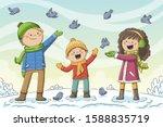 kids feeds birds in winter.... | Shutterstock .eps vector #1588835719