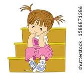 a little girl sitting on the...   Shutterstock .eps vector #1588871386