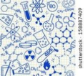 chemical doodles on school...   Shutterstock . vector #158887409