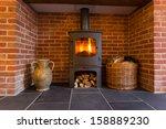 Roaring Fire Inside Wood...