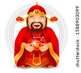 chinese god of wealth with red... | Shutterstock .eps vector #1588903099