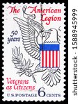 Small photo of MOSCOW, RUSSIA - OCTOBER 1, 2019: Postage stamp printed in USA shows The American Legion - Eagle from Great Seal, 6 c - United States cent, American Legion, 50th Anniversary Issue serie, circa 1969