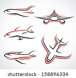 Airplane  Abstract Set. Vector