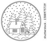 circular christmas decoration... | Shutterstock .eps vector #1588975729