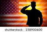 proud saluting male army... | Shutterstock . vector #158900600