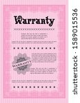 pink warranty certificate... | Shutterstock .eps vector #1589015536