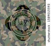bitcoin mining icon on camo... | Shutterstock .eps vector #1589015593