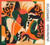 trendy scarf print with leopard ... | Shutterstock .eps vector #1589015710