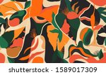 modern exotic jungle plants... | Shutterstock .eps vector #1589017309